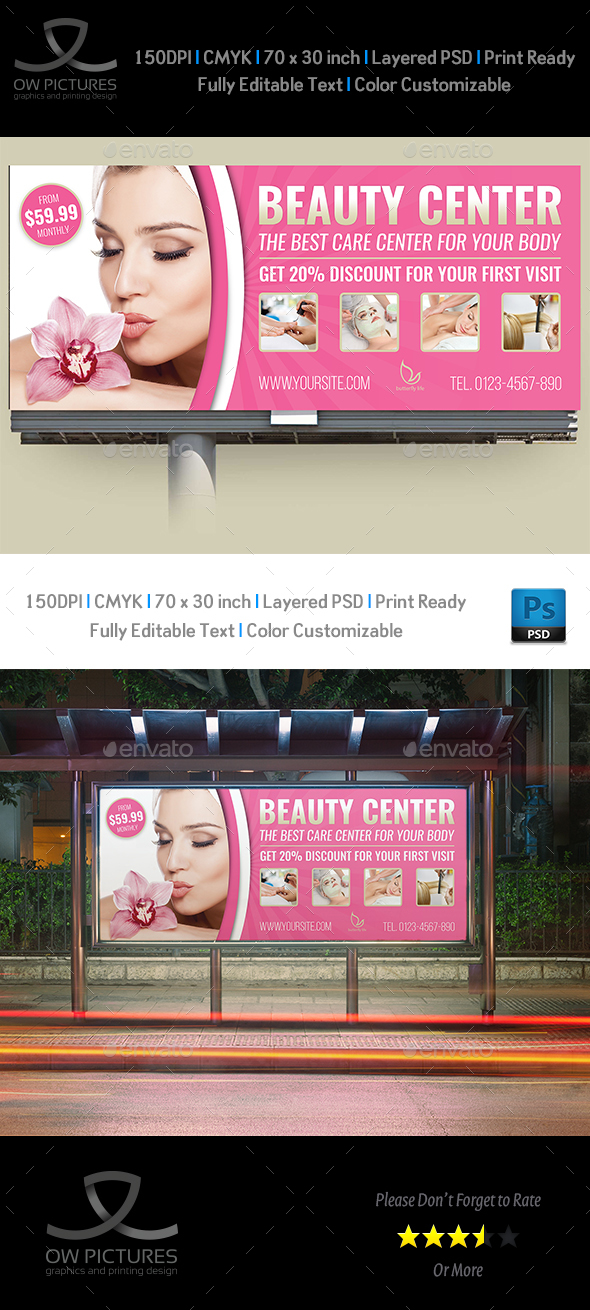Beauty Center Billboard Template - Signage Print Templates