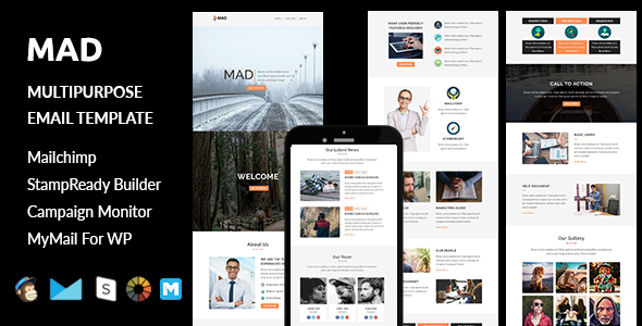 Mad – Multipurpose Responsive Email Template with Stampready Builder Access