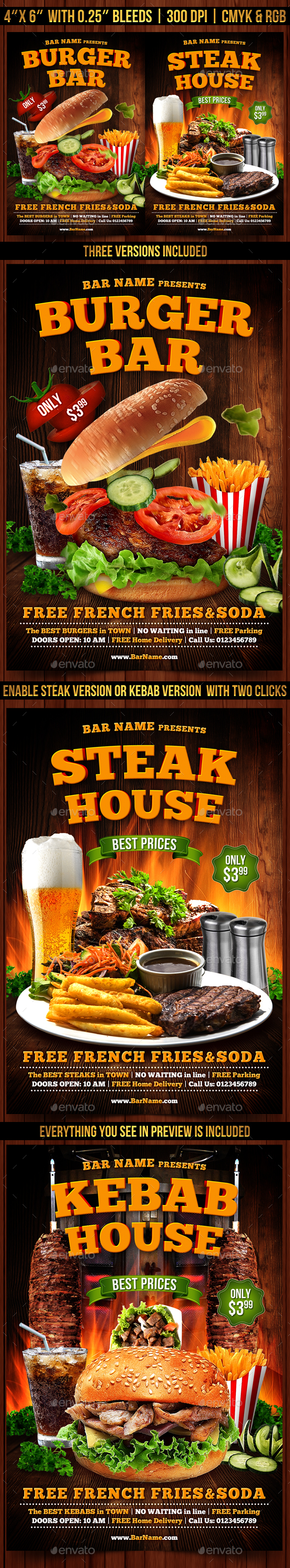 Burger, Steak and Kebab Flyer Template - Clubs & Parties Events