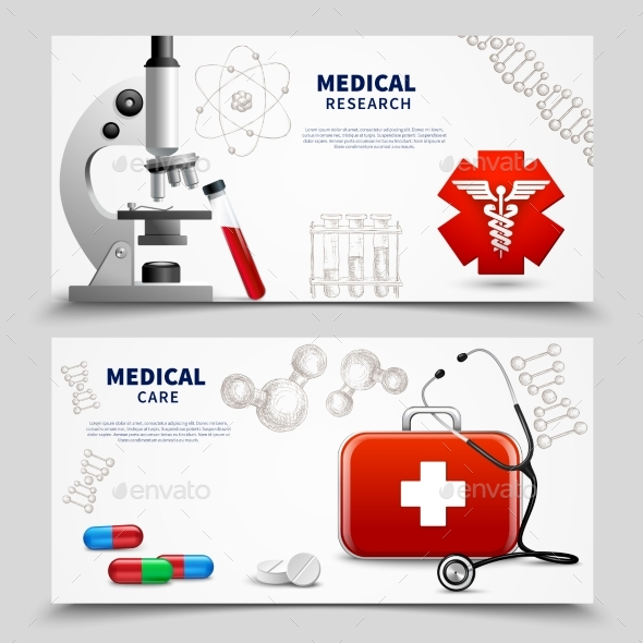 Medical Research Banners Set - Health/Medicine Conceptual