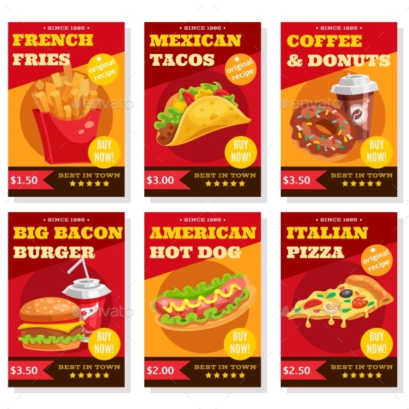 Fast Food Posters Set - Food Objects