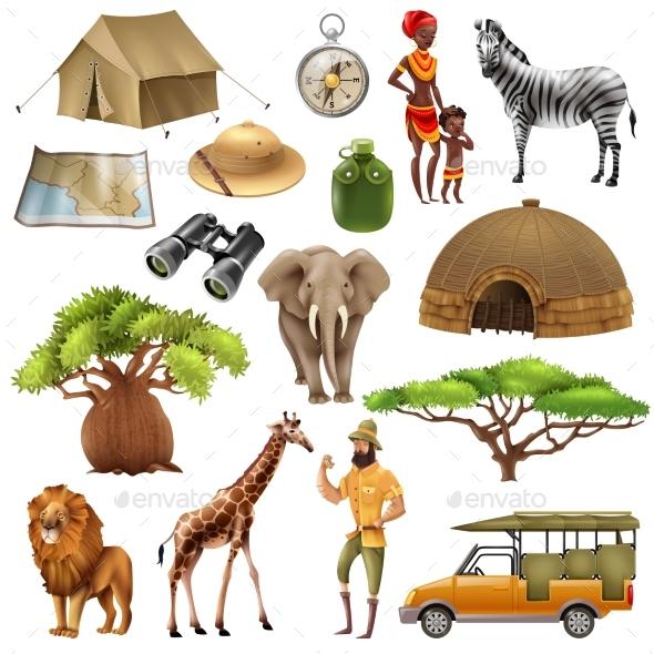 Safari Set Icon Set - Animals Characters