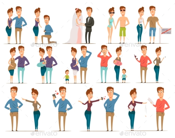 Marriage Flat Characters Set - People Characters