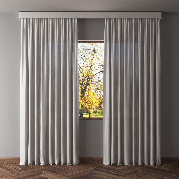 Gray blackout curtains - 3DOcean Item for Sale