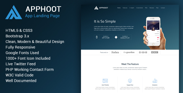 Apphoot – Responsive App Landing Page Template