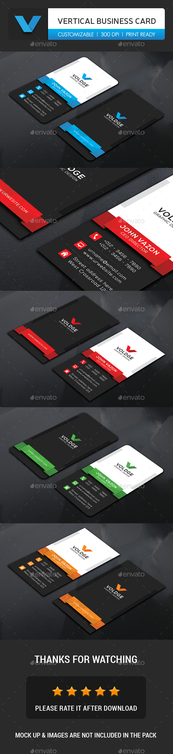 Vertical Business Card - Business Cards Print Templates