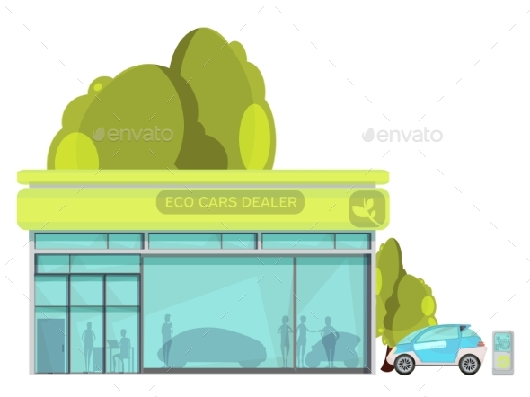 Electro Car Flat Illustration - Technology Conceptual