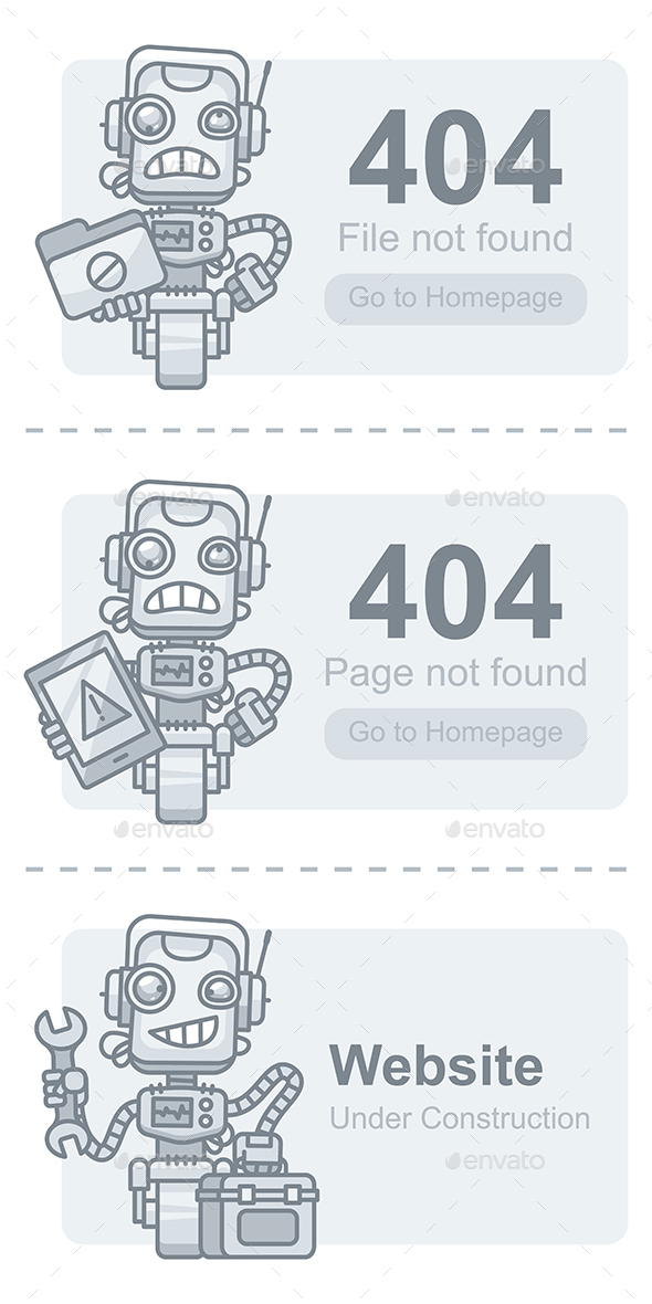 Concept Web Pages Warning - 404 Pages Web Elements