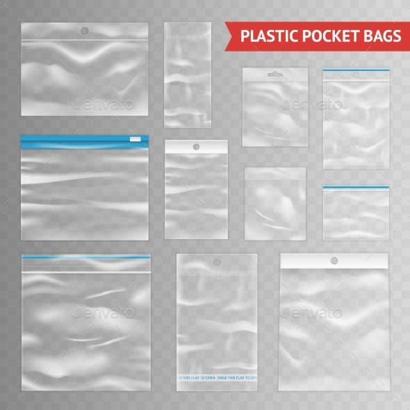 Plastic Clear Transparent Realistic Bags - Objects Vectors