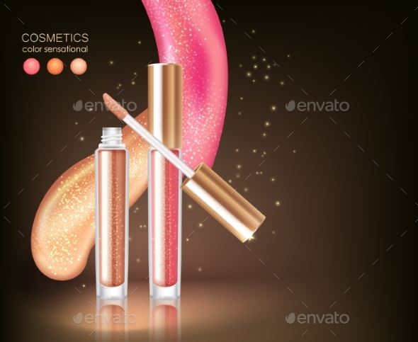 Glossy Lipstick Cosmetic Concept - Conceptual Vectors