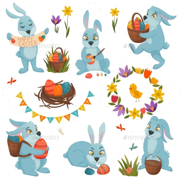 Easter Decorations Big Set - Animals Characters