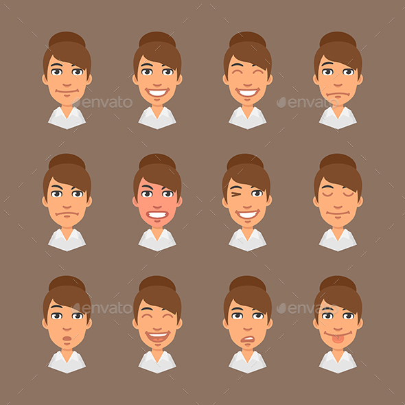 Set Emotions Business Woman - People Characters