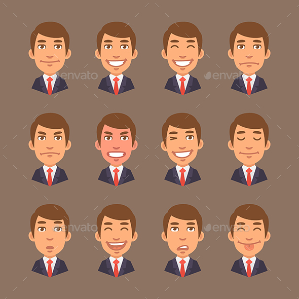 Set Emotions Businessman - People Characters