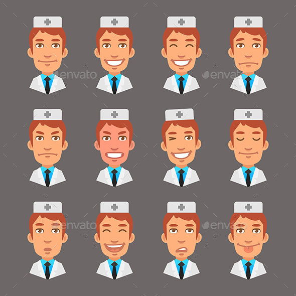 Set Emotions Doctor - People Characters