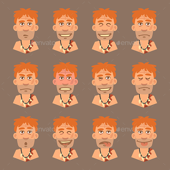Set Emotions Neanderthal - People Characters
