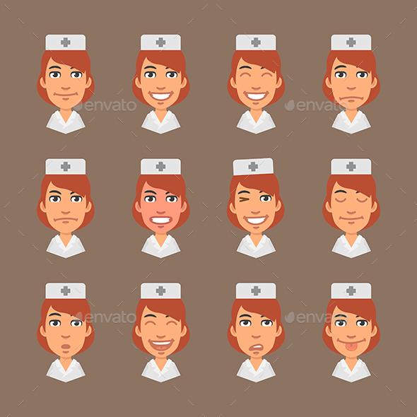 Set Emotions Nurse - People Characters