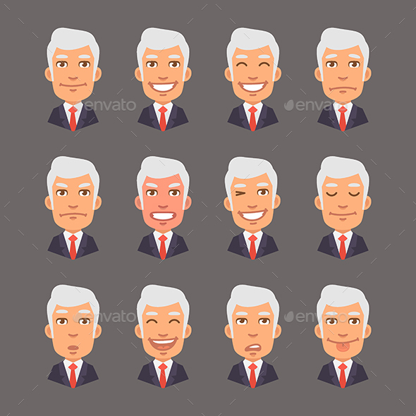 Set Emotions with Gray Hair Businessman - People Characters