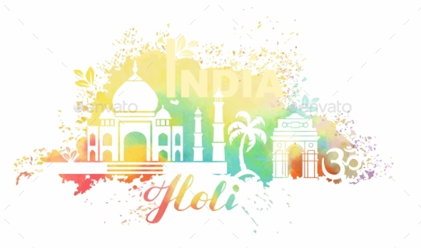 Postcard for the Holiday of Holi in India - Decorative Symbols Decorative