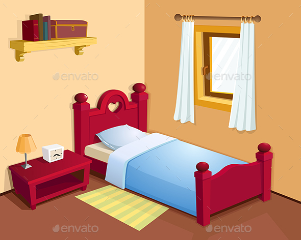 Cartoon bedroom interior - Objects Vectors