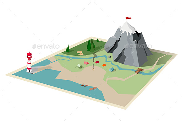 Camping Map Mountain Hiking - Travel Conceptual