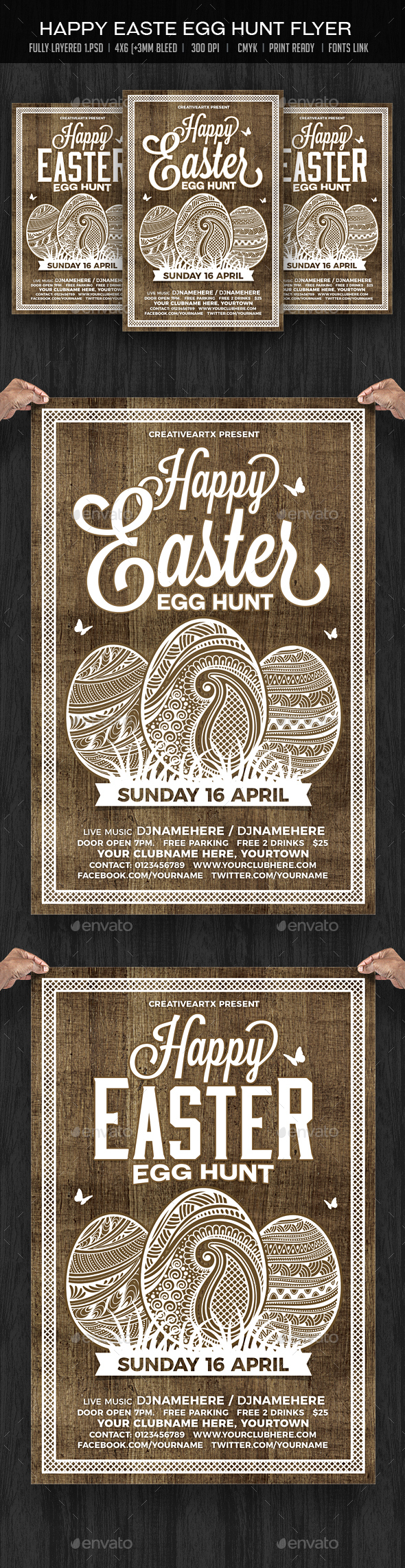Happy Easter Egg Hunt - Events Flyers