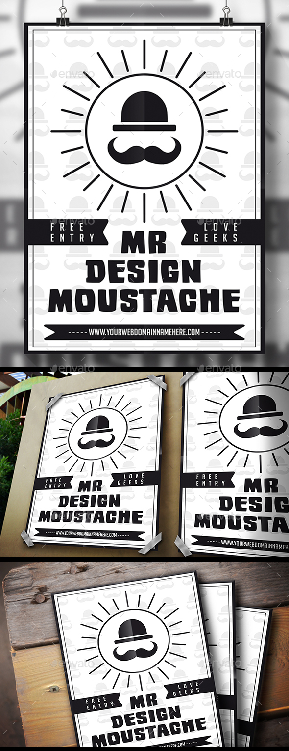Moustache Flyer - Clubs & Parties Events