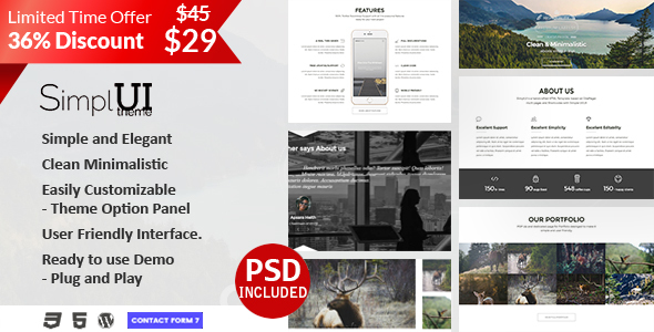 SimplUI – One Page Clean Parallax Responsive WordPress Theme