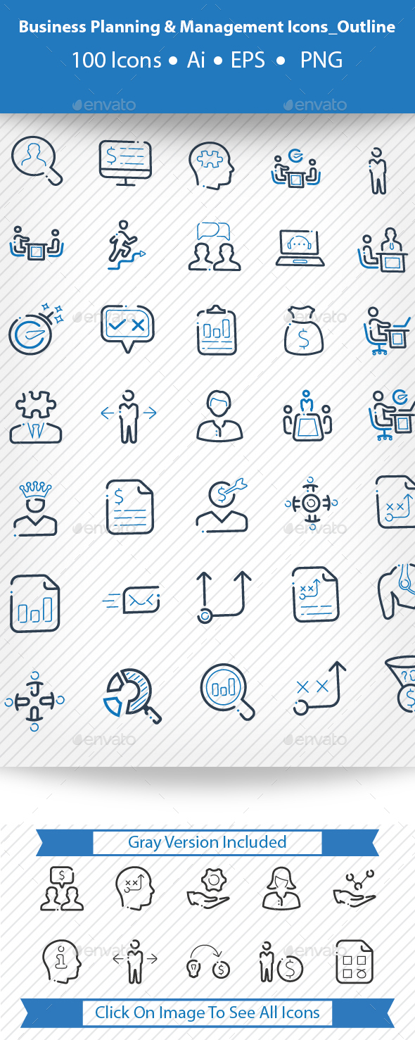 Business Planning & Management Icons_Outline - Business Icons