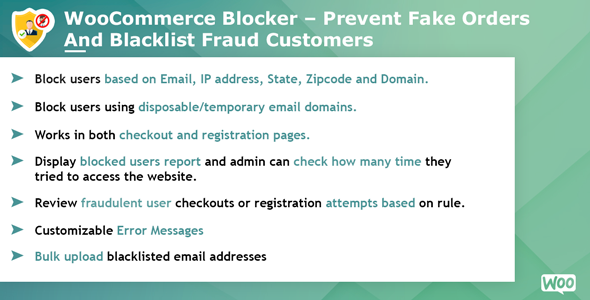 Woocommerce Blocker - Prevent fake orders and Blacklist fraud customers - CodeCanyon Item for Sale