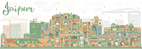 Abstract Jaipur Skyline with Color Landmarks - Buildings Objects