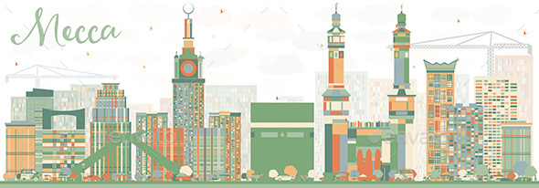 Abstract Mecca Skyline with Color Landmarks - Buildings Objects