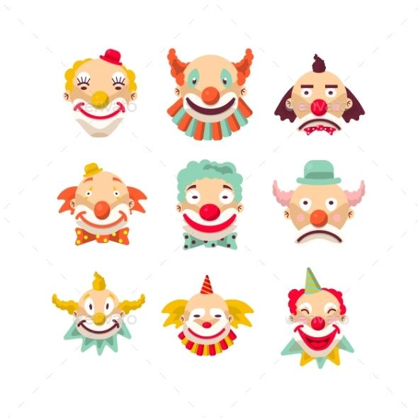 Clown Faces Vector Isolated Icons Set - Birthdays Seasons/Holidays