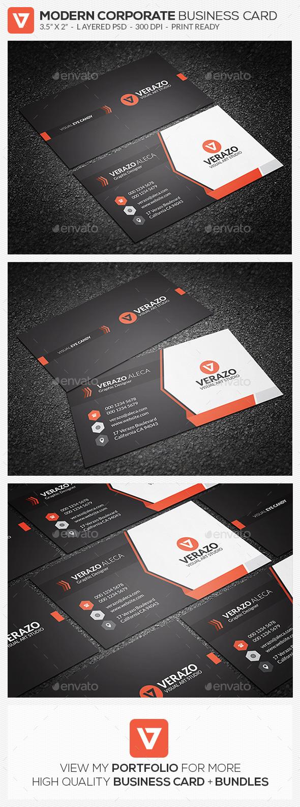 Creative & Modern Corporate Business Card Template - Corporate Business Cards