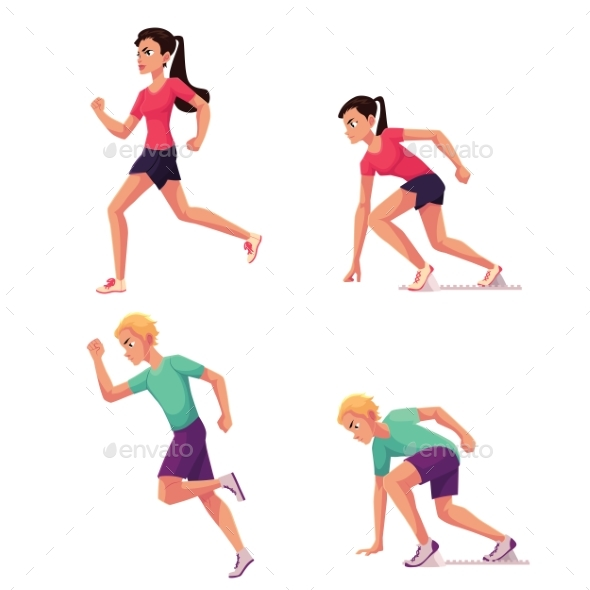 Set of Runners - Sports/Activity Conceptual