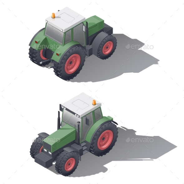 Agricultural Tractors Isometric Icon Set - Miscellaneous Vectors