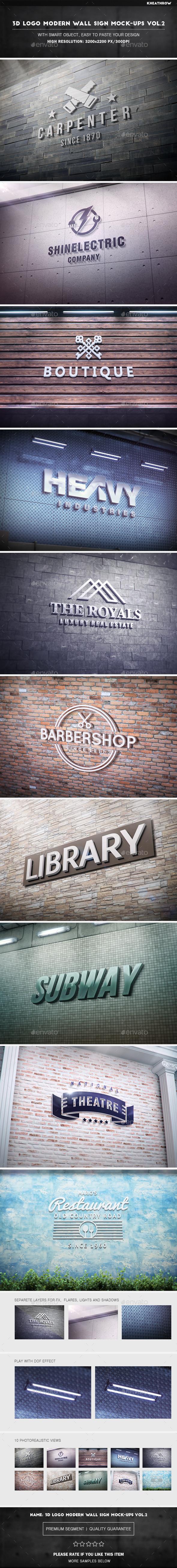 3D Logo Modern Wall Sign Mock-Ups Vol.2 - Logo Product Mock-Ups