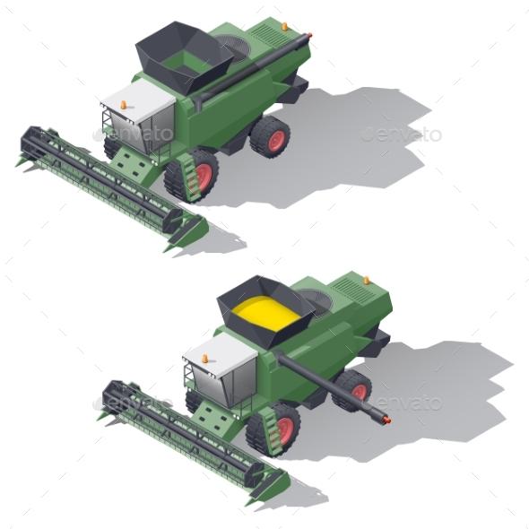 Combine Harvester Isometric Icon Set - Miscellaneous Vectors