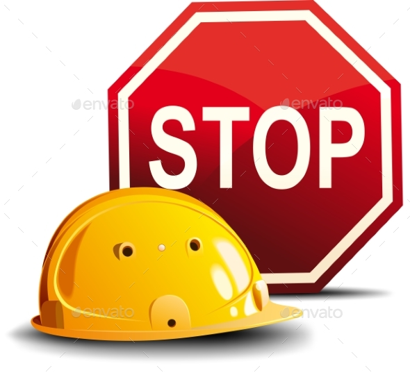 Helmet and Stop Sign - Backgrounds Decorative