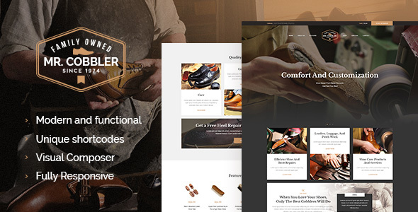 Mr. Cobbler | Custom Shoemaking & Repairs WordPress Theme - Retail WordPress