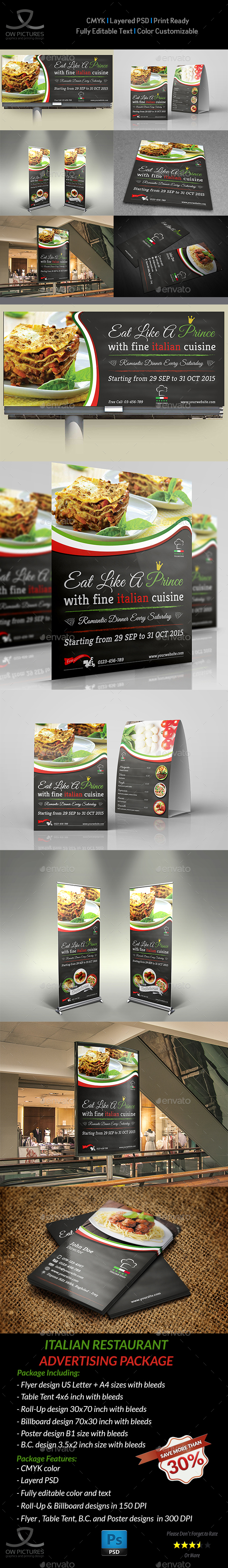 Italian Restaurant Advertising Bundle - Signage Print Templates