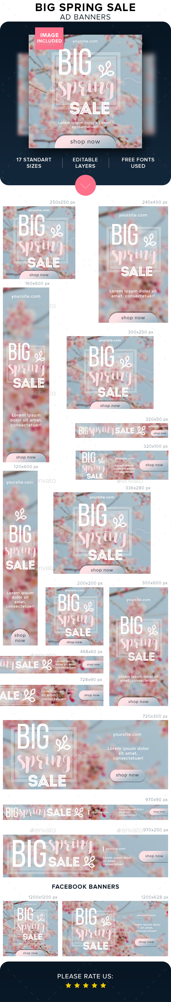 Big Spring Sale Ad Banners - Banners & Ads Web Elements