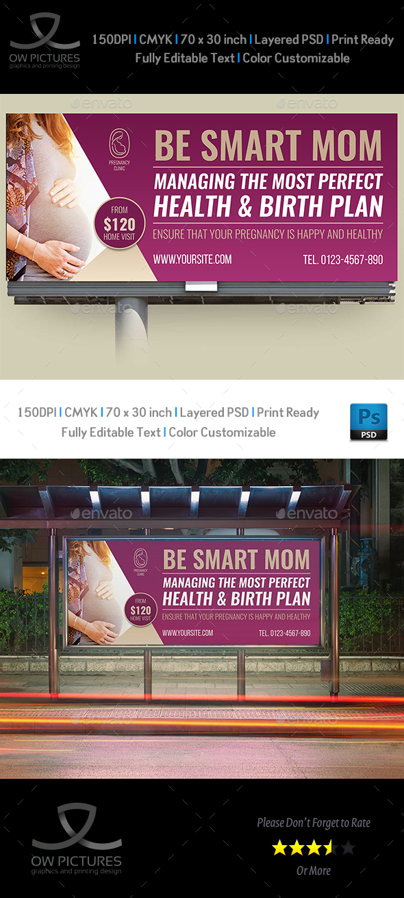 Pregnancy Billboard Template - Signage Print Templates