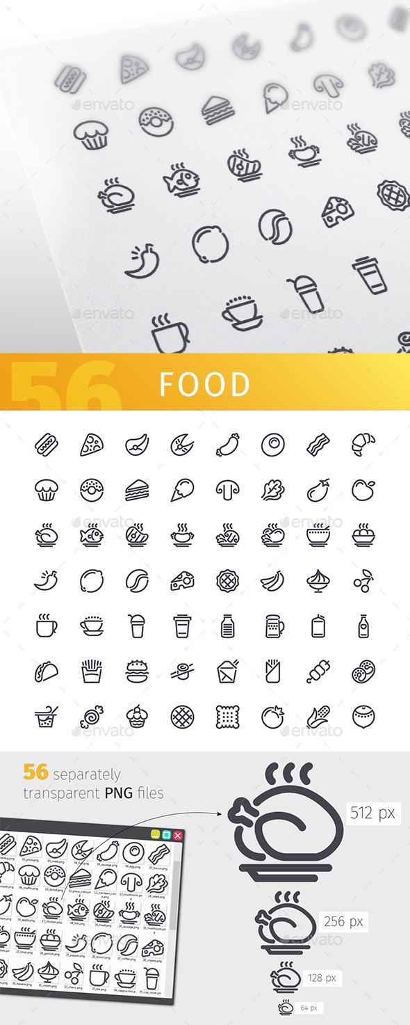 Food Line Icons Set - Food Objects