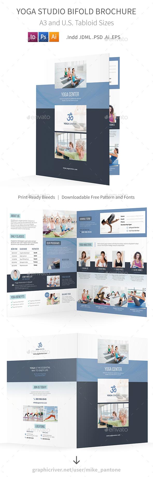 Yoga Studio Bifold / Halffold Brochure - Informational Brochures