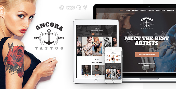 Ancora | Tattoo Salon and Ink Shop WordPress Theme - Health & Beauty Retail