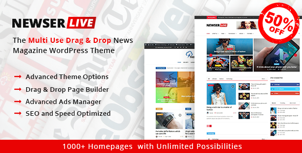 Newser – The Multiuse Drag and Drop News/Magazine WordPress Theme