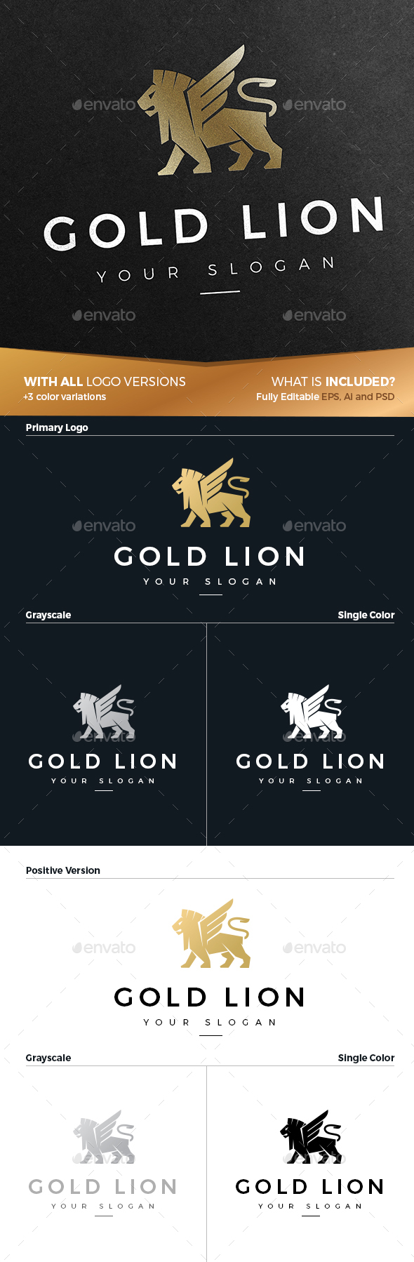 Gold Lion Logo - Animals Logo Templates