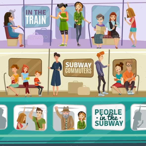 Subway People Banners Set - People Characters