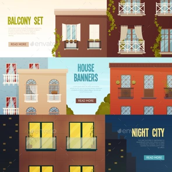 Balcony House Banners Set - Conceptual Vectors
