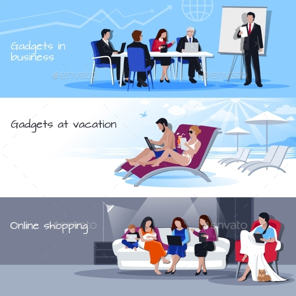 Gadgets In Business Vacation Shopping Banners - Technology Conceptual